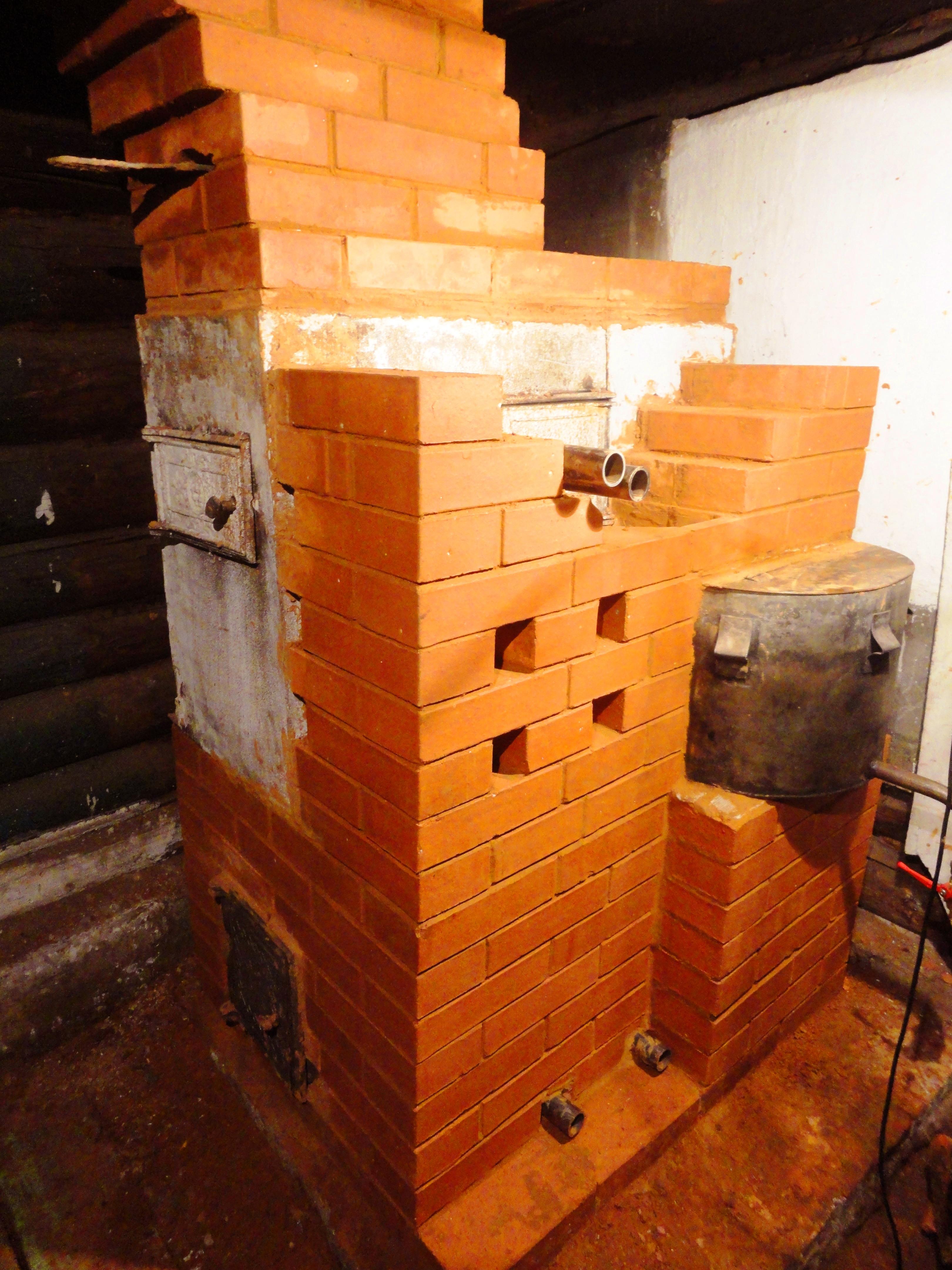 Печь для бани из кирпича с баком своими руками 28
